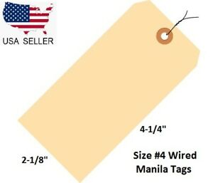 100 Pack Of 4 1 4 X 2 1 8 Size 4 Manila Inventory Shipping Hang Tags With Wire
