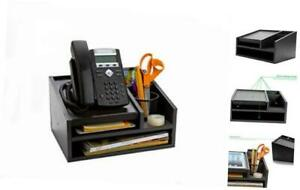 Mind Reader Mdfbox5 blk Office Desk 5 Compartments With Letter Tray Phone Stand