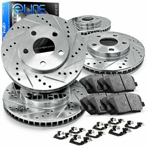 For 2013 2014 Ford Mustang Front Rear Drill slot Brake Rotors ceramic Brake Pads