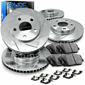 For 2013 2014 Ford Mustang Full Kit Silver Slotted Brake Rotors ceramic Pads