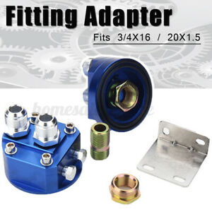 2pcs Oil Filter Relocation Male Sandwich Fitting Adapter Kit For 3 4x16 20x1 5