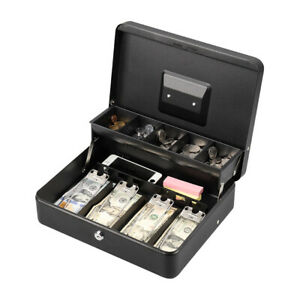 Cash Box With Money Tray Lock Large Size Steel 5 Compartment Key Black Tiered