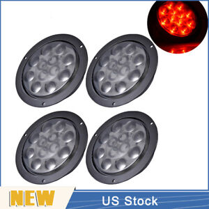 4pcs Car 4 Round Red Stop Turn Brake Tail Marker Light 12led Lamp Smoked Lens