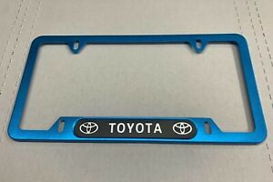 Toyota License Plate Frame Aluminum Blue New Free Ship Usa Rav4 Yaris Corolla