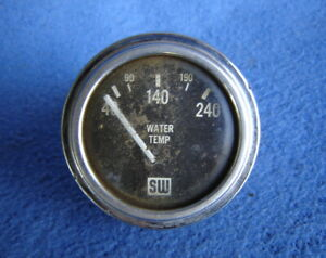 Vtg Stewart Warner Big Logo Curved Glass Temp Gauge Hot Rat Rod Ford Chevy Parts