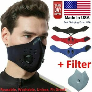 Reusable Dual Breathing Valve Face Mask Cover With Activated Carbon Filter Usa