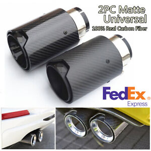 2pcs 63mm Real Carbon Fiber Exhaust Pipe Muffler Tips Matte Black For Bmw Usa