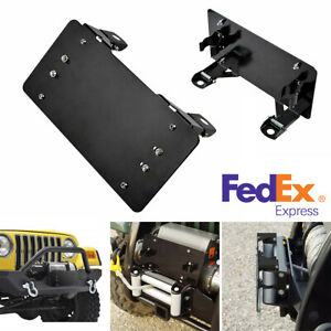 Flip Up Winch License Plate Bracket Holder Cover Black For Jeep Truck Us Ship