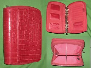 Compact 1 0 Red Reptile Faux Leather Day Runner Planner Binder Franklin Covey
