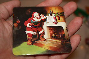 Coca Cola - Xmas Santa List by the Fireplace Drink Coaster  1993?