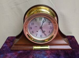 Beautiful Chelsea Ship S Bell Clock 6 Dial 14 Wood Base Works Excellent Chime