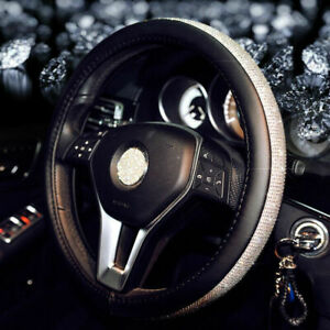 Leather Car Steering Wheel Covers 38cm Female Auto Accessories For Women Girls