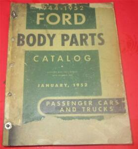 1944 1952 Ford Cars Trucks Pickups Body Parts Catalog Manual List Book R1755