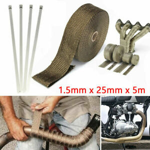 Titanium Header Turbo Pipe Manifold Exhaust Heat Wrap Tape 1 x16 5ft Roll 4 Ties