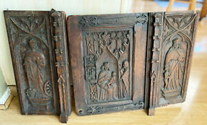 Antique Hand Carved Large Wood Cabinet Door Panels Catholic Scene Sculptures