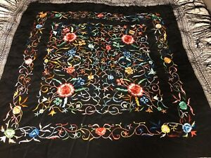 Antique Chinese Vintage Black Silk With Bright Embroidered Piano Shawl Scarf