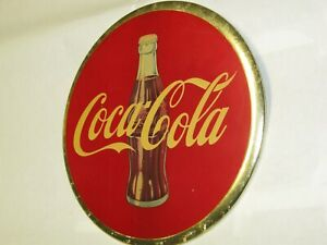 Old Orig 1950's Coca-Cola 9 inch Celluloid Advertising Button Bottle Sign NICE