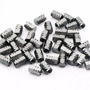 8 Pcs Gray Aluminum Car Truck Bike Tire Valve Stem Caps Free Shipping