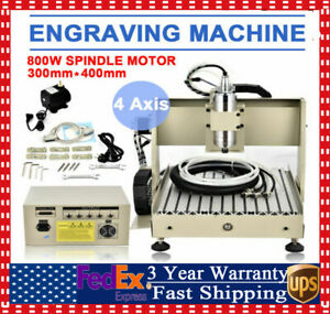 Usb 4 Axis 3040 Cnc Router Engraver Pcb Wood Milling Drilling Machine 800w