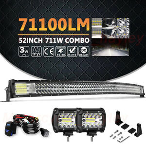52 Tri Row Curved Led Work Light Bar 4 Pods Offroad Suv Truck For Ford Jeep