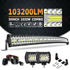 50inch 1032w Curved Roof Led Work Light Bar Combo Offroad Driving Atv Ute 4wd 52