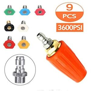 3600psi Pressure Washer Turbo Nozzle Spray Tip Rotating 1 4 Quick Connect With