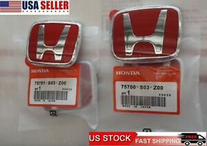 2pcs 96 00 Honda Civic Ek Jdm Red H Type R Front Rear Emblem 92 95 Accord Oem