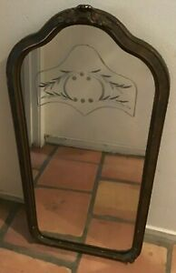 Antique Etched Glass Mirror