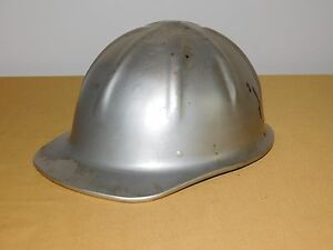 Vintage Construction Pulmosan Silver Metal Hard Hat