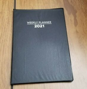 2021 Weekly Planner Calendar Appointments 5 1 4 X 7 1 2 Black Vinyl Cover