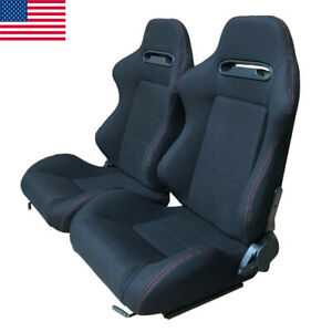 2x Universal Reclinable Bucket Seats Chairs Sport Racing Slider Adjustable Black