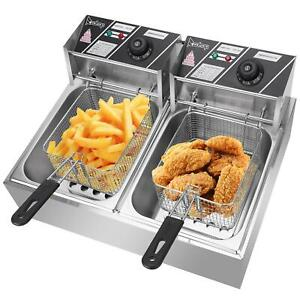 12l Electric Deep Fryer Dual Tank Stainless Steel Fry Basket Commercial 5000w