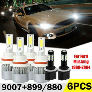For Ford Mustang 1998 2004 Headlight Bulb Kit High Low Beam Fog Light 9007 899