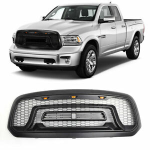 For 2013 2018 Dodge Ram 1500 Front Grill Mesh Grille Rebel Style Amber Led Light