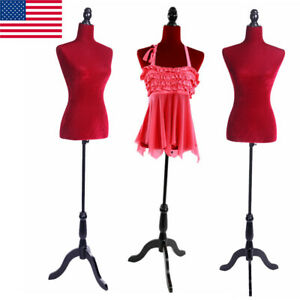 Female Mannequin Torso Dress Clothing Form Display Tripod Stand Coat Model Red