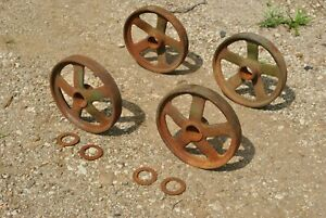 John Deere Spoke Cast Iron Wheels Hit Miss Gas Engine Steam Punk Industrial Cart
