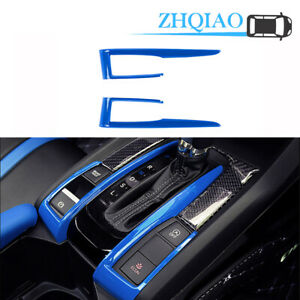 2pcs Abs Blue Interior Gear Shift Box Strip Cover Trim For Honda Civic 2016 2020