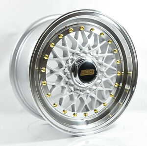 4pcs Bbs Rs 15inch 7j 4x100 4x114 3 Alloy Wheel Cheap Rims Silver Rs1 1