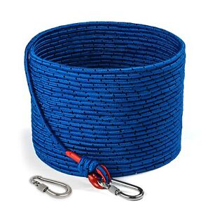 Loreso Strong Magnet Fishing Rope With Double Carabiner Heavy Duty 1200 Lb Str