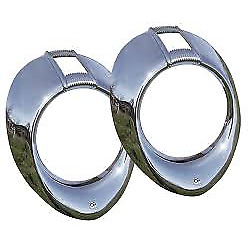 New 1940 Ford Deluxe Headlamp Rims Bezels Chrome Pair Vintique Brand 01a 13045 v