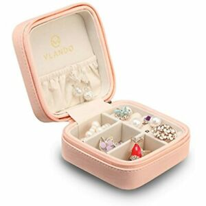 Macaron Small Jewelry Box Travel Storage Case For Rings And Earrings Pink