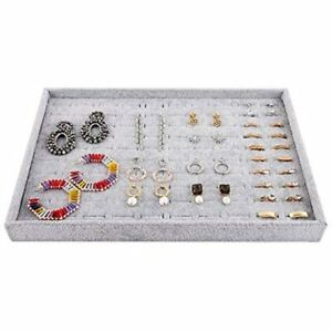 Jewelry Tray Organizer 100 Slots Ring Studs Earrings Velvet Stackable Showcase