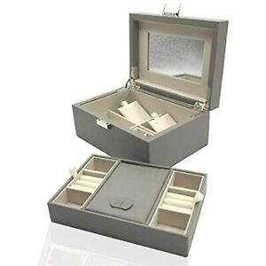 Wooden Jewelry Box Organizer Large Mirror And 2 layer For Necklaces Rings Gift