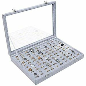 100 Slots Ring Storage Display Box With Transparent Lid Jewelry Tray Organizer