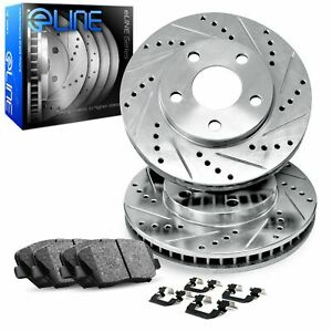 For 2013 2014 Ford Mustang Front Drill slot Brake Rotors ceramic Brake Pads