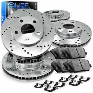 For Chevrolet Saab Vectra 9 3 Front Rear Drilled Brake Rotors ceramic Pads