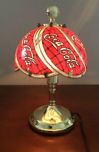 Coca-Cola (R) Brand Portable Table Lamp Collectible Glass Gilded Height 12