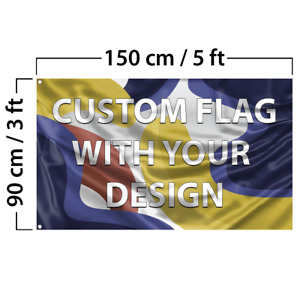 Custom Flag With Your Design 3x5 Feet Size Double Sided With Grommets Free