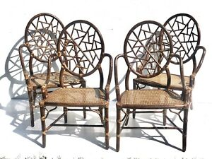 Original Pair Vintage Mcguire Furniture Rattan Rawhide Cracked Ice Armchairs