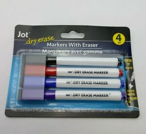 New 8 Ct Dry Erase Markers With Eraser On Cap Blue Black Red Purple Pointed Tip